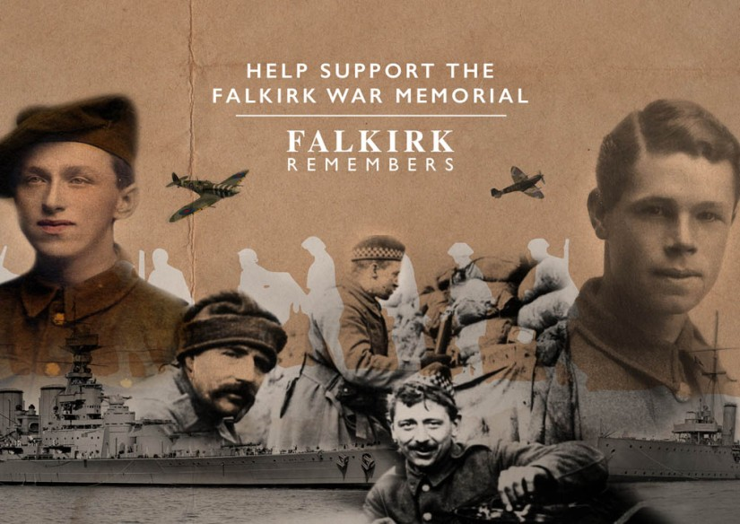 Cover of postcard being distributed to promote the War Memorial project. Design by Eden Consultancy Group.